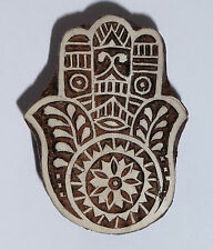 Hamsa Hand Shaped 6cm Indian Hand Carved Wooden Printing Block
