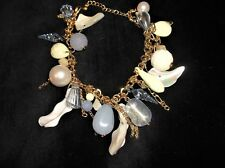 ELEGANT GOLD TONE LINK BRACELET PEARLS LUSTRE BEADS BLUE PERSPEX SHELL DROPS