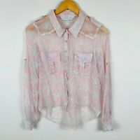 Forever New Womens Blouse Size 6 Silk Pink White Long Sleeve Delicate Gorgeous