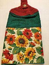 ⭐ BEAUTIFUL SUNFLOWERS ~ ~  Hand Crochet Top Hanging Terry Kitchen Towel ⭐