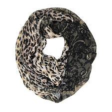 Leopard Cheetah Wild Animal Lace Print Block Circle Loop Wrap Infinity Scarf