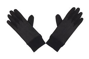 LADIES Women's Black SILK Thermal Layer Liner Inner Gloves Skiing Motor Cycle