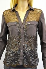 Curve Brown Beaded Lace Cotton Blend Women's Shirt Size Small ON Sale sy