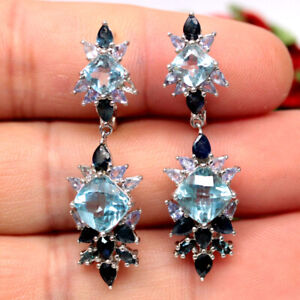NATURAL 8 X 8 mm. SKY BLUE TOPAZ, SAPPHIRE & CZ 925 STERLING SILVER EARRINGS