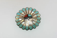SOUTHWESTERN SILVER TONE TURQUOISE MOP CHANNEL MOSAIC INLAY PIN BROOCH SIGNED JL