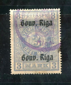 "x477 - LATVIA Germany Occupation 1916 ""Gouv. Riga"" 3M Used REVENUE Stamp Fiscal"