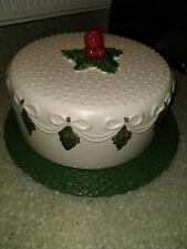 Christmas dome ceramic cake plate