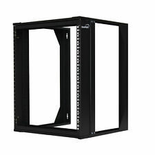 """12U Wall Mount IT Open Frame 19"""" Network Rack with Swing Out Hinged Gate Black"""