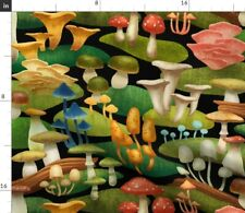 New listing Mushroom Nature Autumn Fall Wood Woods Spoonflower Fabric by the Yard