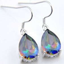 Awesome Teardrop Shaped Natural Rainbow Mystic Fire Topaz Silver Dangle Earrings