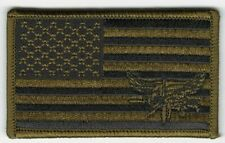 "2"" x 3 1/4"" Woodland Olive Green Black Us Flag Swat Operator Morale Patch"