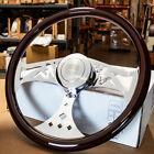 18 Wood Steering Wheel Chrome Spoke Smooth Freightliner Kenworth Peterbilt