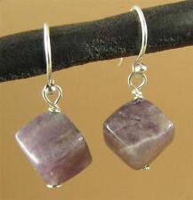 Amethyst earrings. Cube /diamond shape. Purple. Sterling silver. Handmade.
