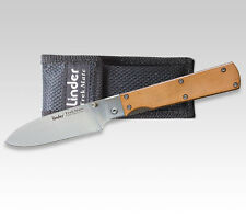 LINDER GERMAN LOCK BACK FOLDING KNIFE / LEATHER HANDLE/ TREKMATE STAINLESS * NEW