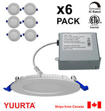 """YUURTA (6-pack) 4"""" 10W Slim Dimmable LED Recessed Ceiling Downlight (Pot Light)"""