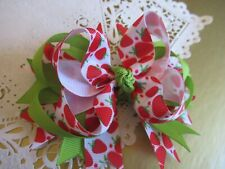 """New Lovely Strawberry Spring Hair Bow Boutique 4.5"""" Lovely Hair Bow New"""
