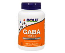 NEW NOW FOODS GABA GAMMA AMINOBUTYRIC ACID SUPPLEMENTS 750 mg 100 VCapsules