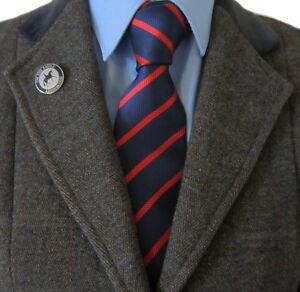 100% Silk Adult Show Tie. Red & Blue Stripe.