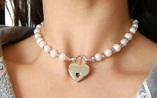 Genuine White Pearl & Purple Swarovski Crystal Locking BDSM Slave Pet Day Collar