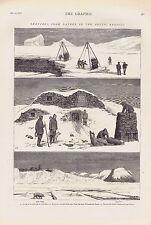 Arctic - Ice dock-Eskimo Huts- Devil's Thumb & Cape Wilcox- -1875 Engraving