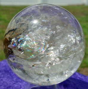 Heart Shape of Rutiles Formation Inside Clear QUARTZ Crystal Sphere For Sale