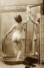 ANTIQUE FERNANDE FRENCH NUDE WOMAN VINTAGE BATH PAN BUTT REAR VIEW PHOTO 20