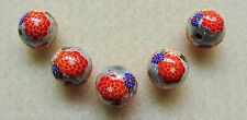 5 Japanese Tensha Beads CHERRY BLOSSOMS on SILVER MIRACLE ROUND Beads 12mm