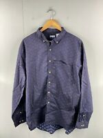 Anchor Bay Men's Vintage Long Sleeve Beach Hawaiian Casual Shirt Size XL Blue