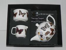 Papillon 2 tasse théière, lait & sucre coffret cadeau. théière, correspondant à lait et sucre