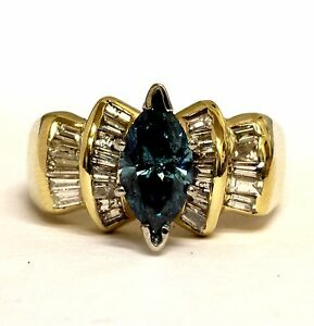 14k yellow gold 1.72ct marquise fancy blue diamond engagement ring 7.4g womens
