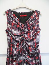 Marc Cain Red Pure Silk Ruffle Front Black Fine Wool Back Shift Dress Size 12 UK