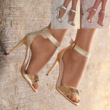 Señoras Diamante Sandalias Zapatos Tacón Alto Correa De Tobillo apenas hay fiesta tamaño 3-8