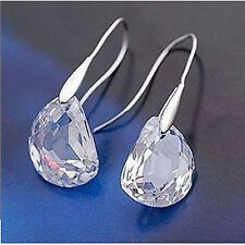 Fashion/Costume Silver Tone Crystal Pea Drop Clear Cz Hook Earrings - UK Seller