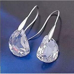 Fashion/Costume Silver Tone Crystal Pea Drop Clear Cz Hook Earrings - UK Seller