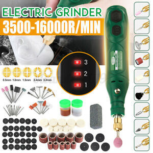 Mini Electric Cordless Rotary Tool Drill Grinder Set 3 Speed Accessories Kit