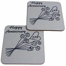 25 Aniversario Bodas (PLATA) Par de posavasos Flor