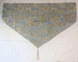 "CROSCILL Napoleon Nicollette Ascot Valance Blue Gold Floral 38"" US-Made Set Of 2"