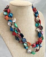 Hand Strung Vintage Multi-Color 3 Strand Mother of Pearl MOP Necklace