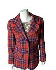 Vintage Pendleton Virgin Wool Blazer Retro Red Lined SZ 14 Jacket Coat Plaid