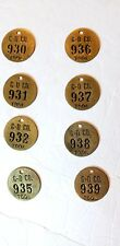 Lot 7 8 Vintage Brass Tool Tags #see pics & details Gardener Denver Quincy Il.