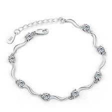 Silver Crystal Bracelet Charm Chain Women Girl Bangle Rhinestone Skinny Slim