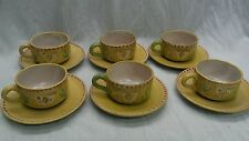 Rare  6 sets Gambone era CAS Vietri Italy hand painted chicken cups and saucers