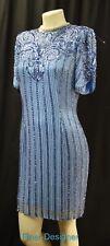 Oleg Cassini Black Tie Vintage SILK Beaded Formal Gown blue dress knee Size 8 M