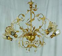 KRONLEUCHTER ANTIK LAMPE LUSTER LED LIGHT FARBE GOLD MURANO KRISTALL ART.L15