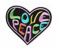 LOVE PEACE HEART Iron on / Sew on Patch Embroidered Badge PT96