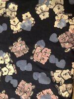 "0.9 Yards Of Vintage Bears Heart Heart Print On Dark Blue Denin Fabric. 34""x 60"""
