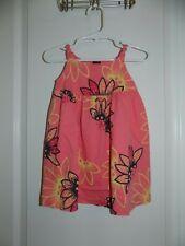 TEA COLLECTION Girls Coral Orange Daisy Knit Dress 12-18 Months EUC Floral