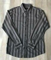 COLORADO | Men's Long Sleeve Button Shirt | 100% Cotton | Black Grey |  Size M