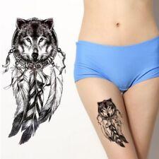 Temporäres Tattoo Wolf Federn Design Temporary Klebetattoo Körperkunst