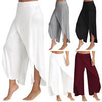 Womens High Waist Harem Pants Palazzo Flared Wide Leg Casual Sport Yoga Trousers